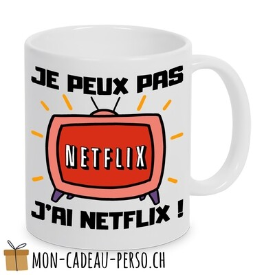 "MUG humoristique - Duraglas Blanc Brillant - "" je peux pas, j'ai Netflix"""
