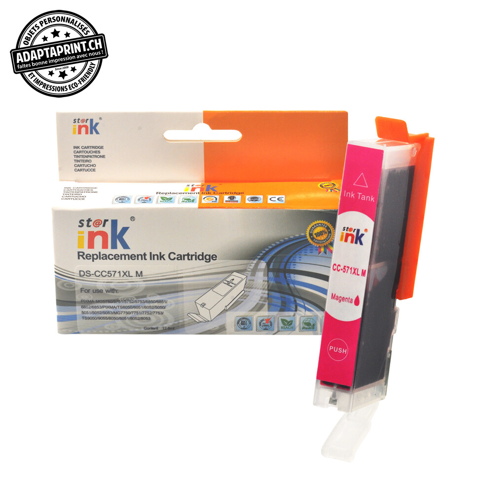 Cartouche d'encre - Magenta (12.5ml / 800 feuilles) - Compatible Canon CLI-571XL M