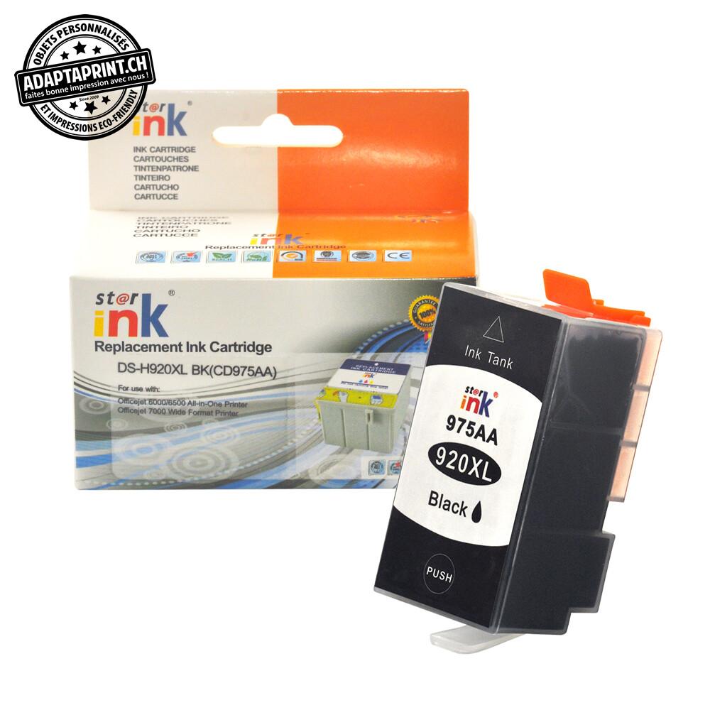 Cartouche d'encre - Noir (50ml / 1'600 feuilles) - Compatible HP 920XL BK, CD975AA