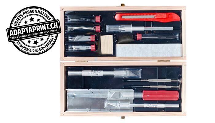 Outil - Set d'outils et cutter DELUXE - Coffret en bois