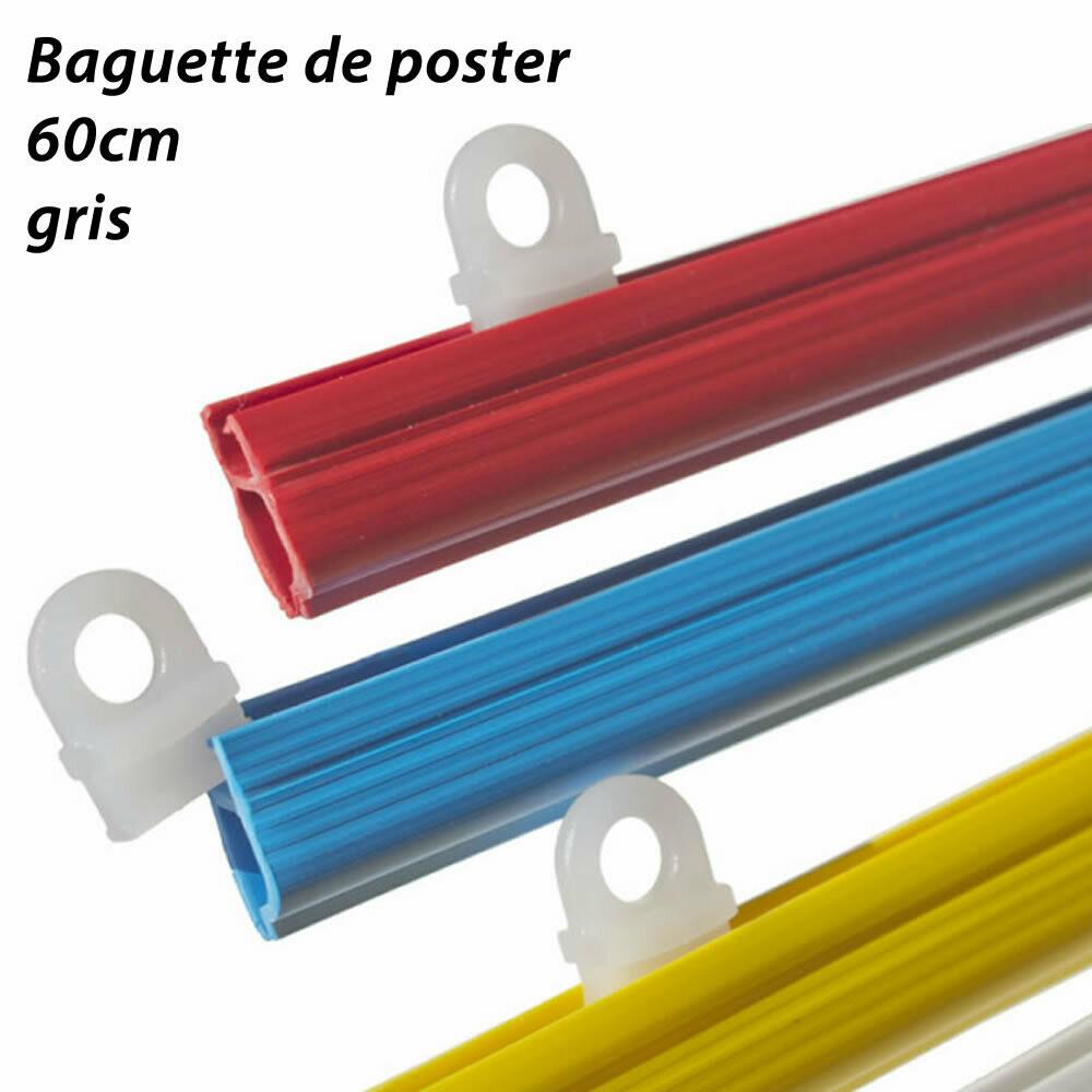 Baguettes pour posters -  60cm - 2 pièces avec œillets - gris
