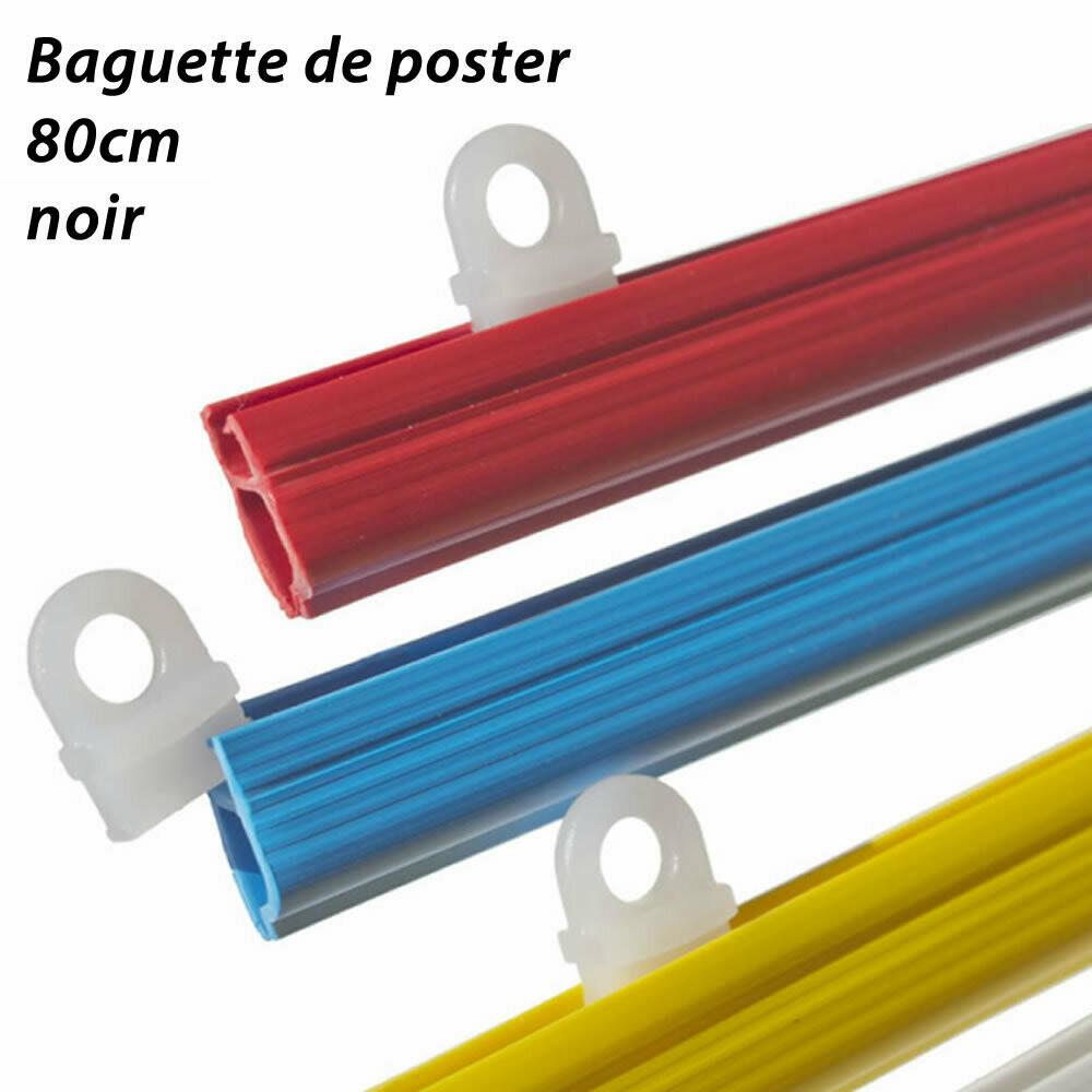 Baguettes pour posters -  80cm - 2 pièces avec œillets - noir