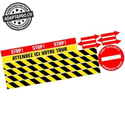 Affichage au sol - Vinyle anti-dérapant - MOQUETTE - 130x42cm - Pack multiple