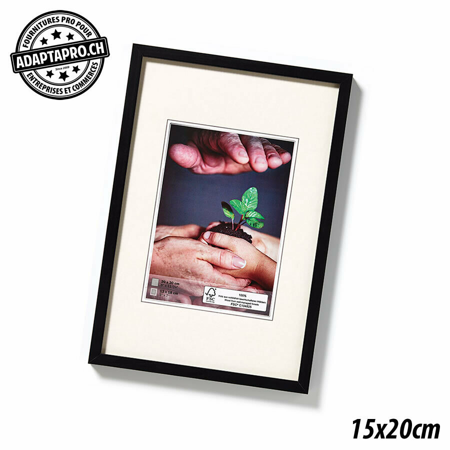 Cadre Photo en Bois - Nature - 15x20cm - Noir