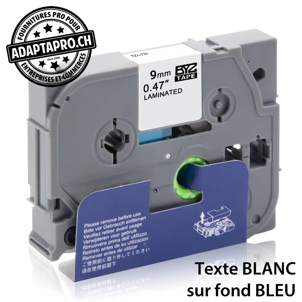 Ruban compatible P-Touch -  9mm * 8m - Blanc sur bleu