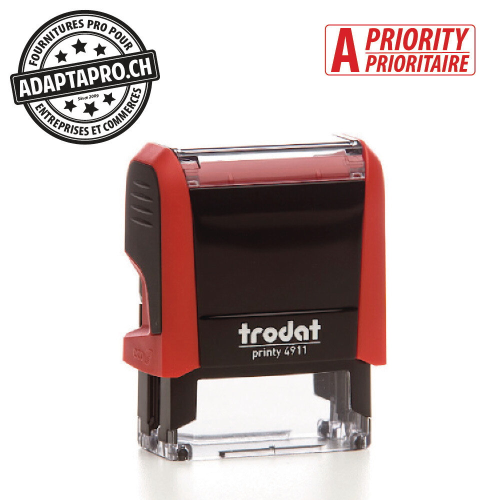 Timbre complet - Trodat Printy 4911 - 38 x 14mm - A-PRIORITAIRE - Boitier rouge, encre rouge