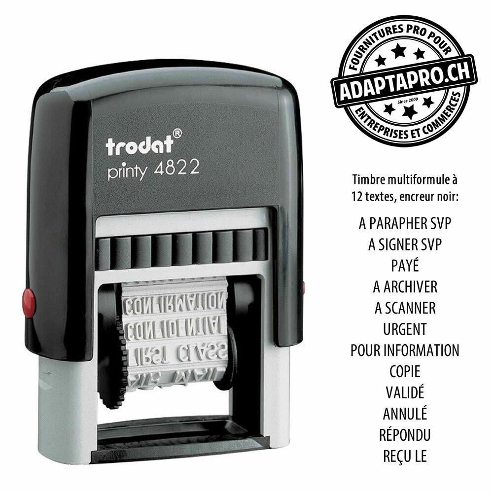 Timbre complet - Trodat Printy 4822 - 20 x 6mm - Multiformule - Encre Noire
