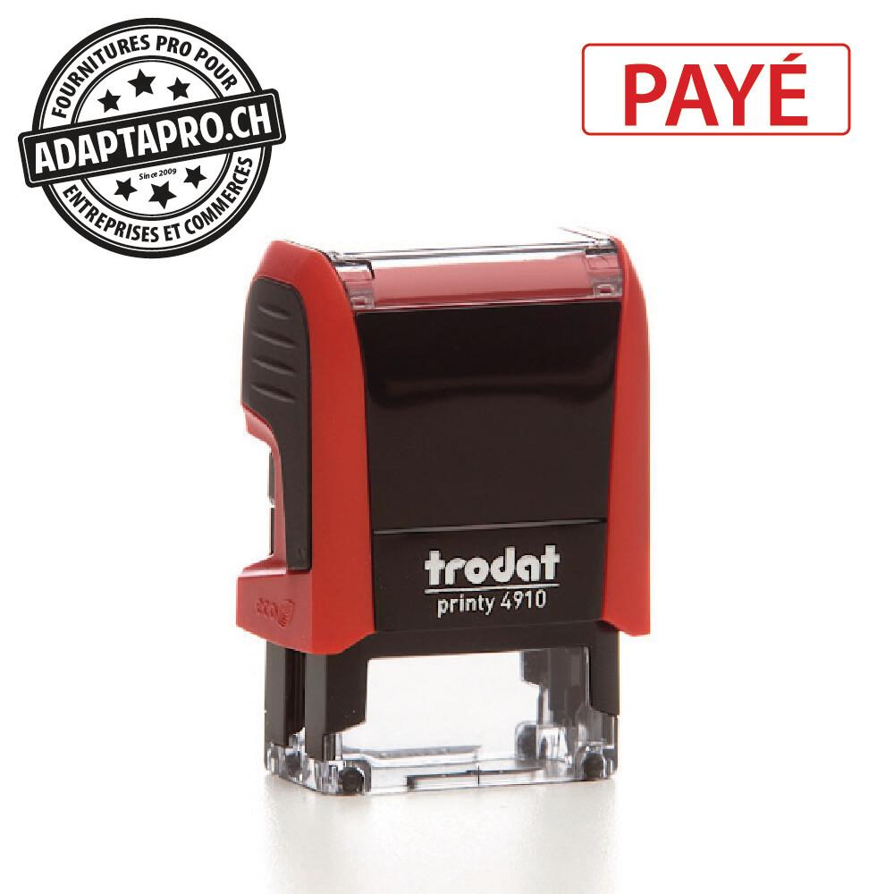 Timbre complet - Trodat Printy 4910 - 26 x 9mm - PAYÉ - Boitier rouge, encre rouge