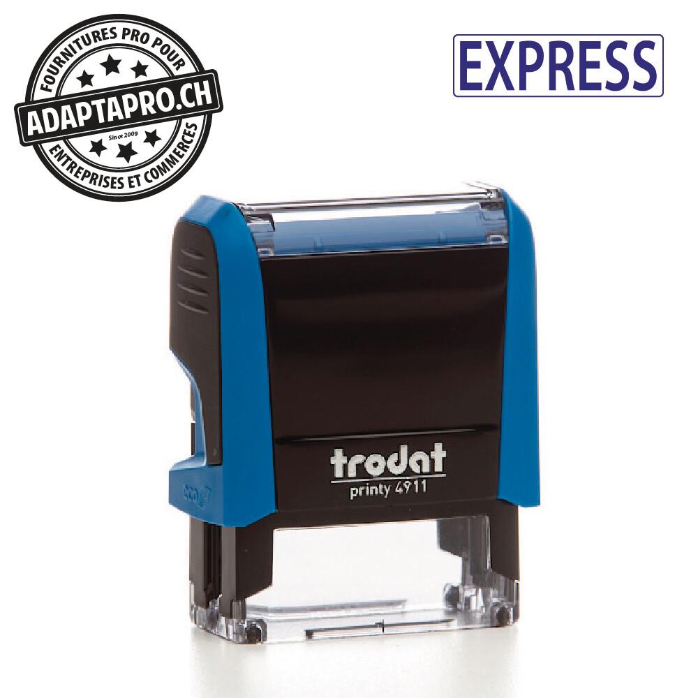 Timbre complet - Trodat Printy 4911 - 38 x 14mm - EXPRESS - Boitier bleu, encre bleue