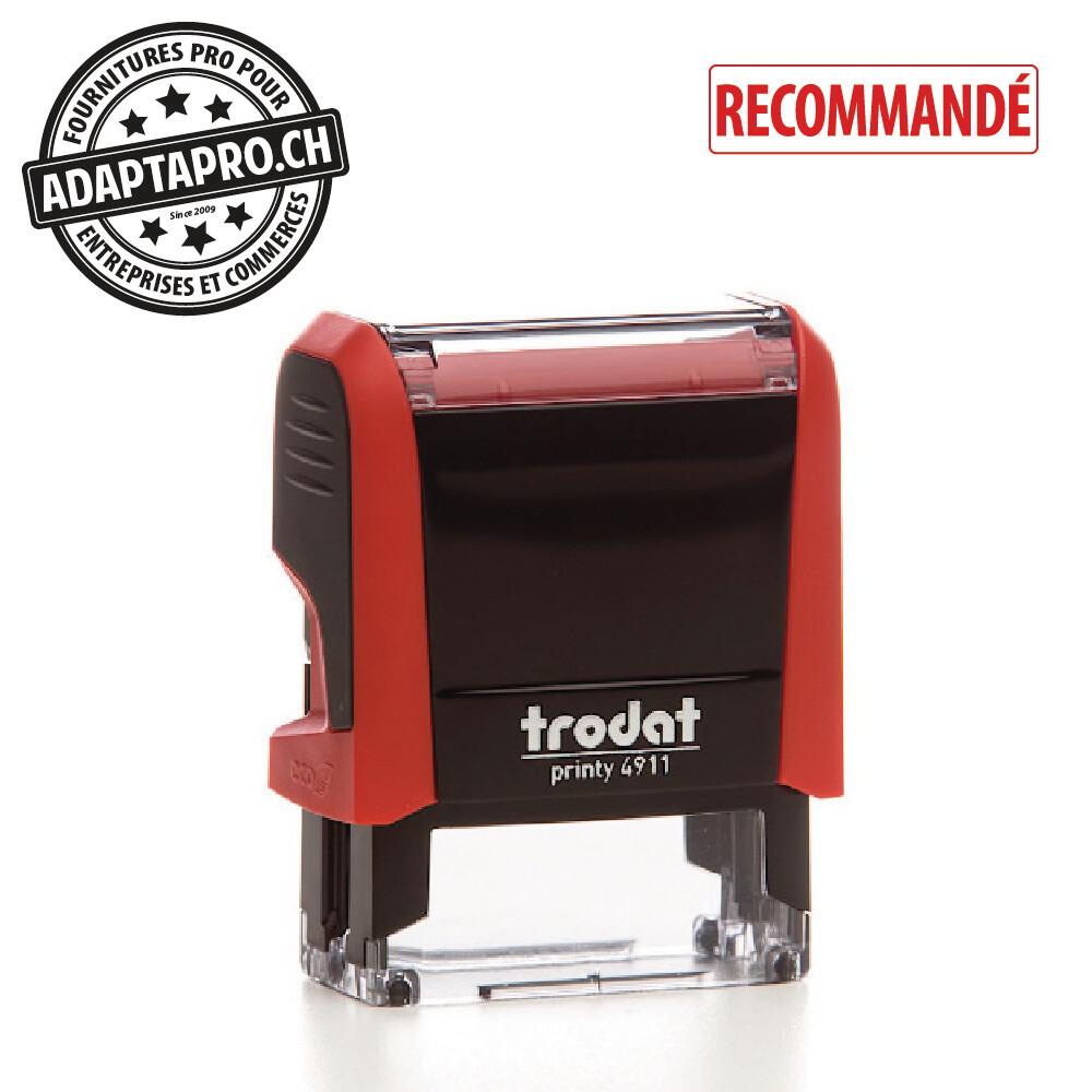 Timbre complet - Trodat Printy 4911 - 38 x 14mm - RECOMMANDÉ - Boitier rouge, encre rouge