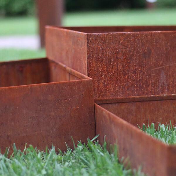 Kit cornici quadrate in corten 50 x 50 cm h 10-16-25