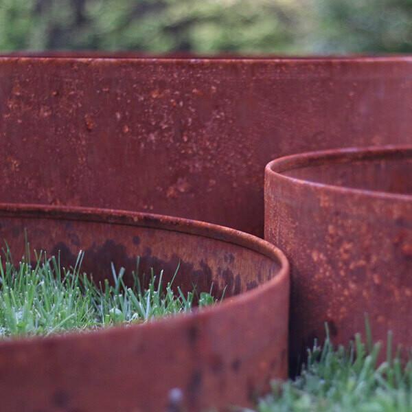 Kit cornici rotonde in corten diametro 60 cm h 10-16-25