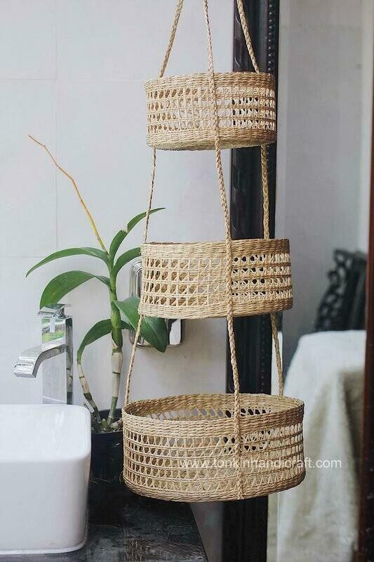 Seagrass Hanging fruit 3-tiers basket