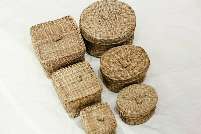Set of 3 Braided Handwoven Natural Oval/Square Holder basket with lid,natural weave wicker seagrass container,