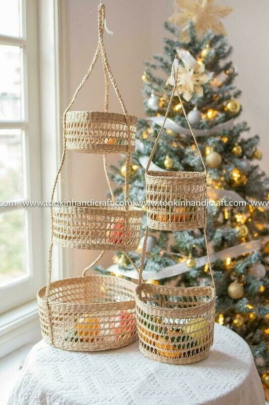 Set of 2 Seagrass Hanging fruit 3tiers & 2tiers baskets