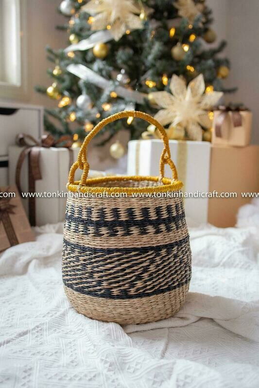 BOHO Seagrass yellow zic zac handmade basket