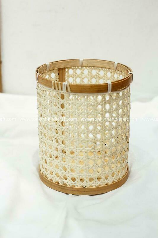 Cylinder Caning Planter Pot Candle Basket