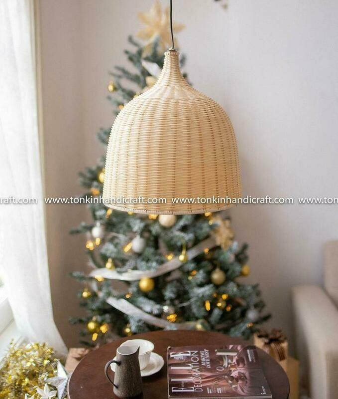 MIN Round white rattan bamboo lampshade light pendant