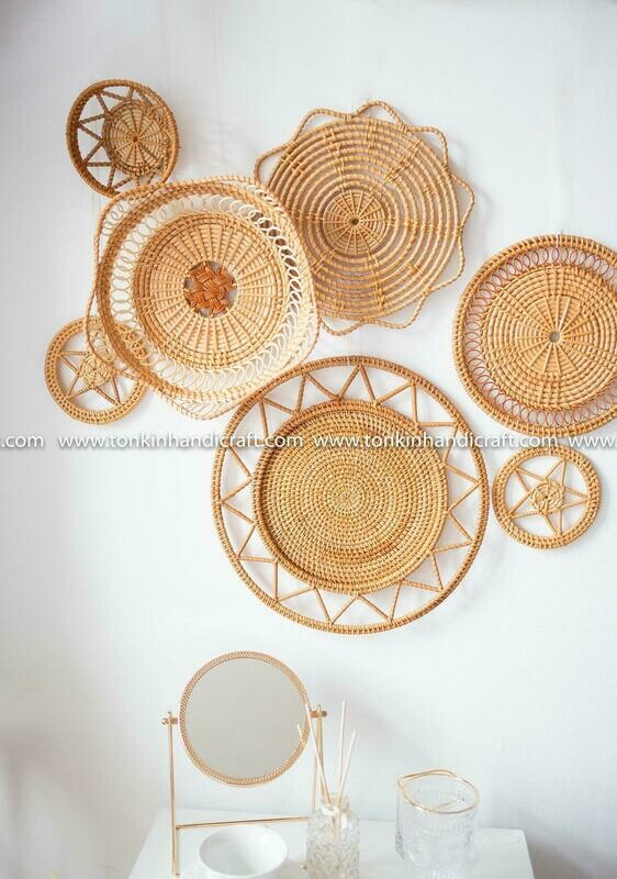 Set of 8 Star Rattan bamboo Round Trays Hanging Wall decoration