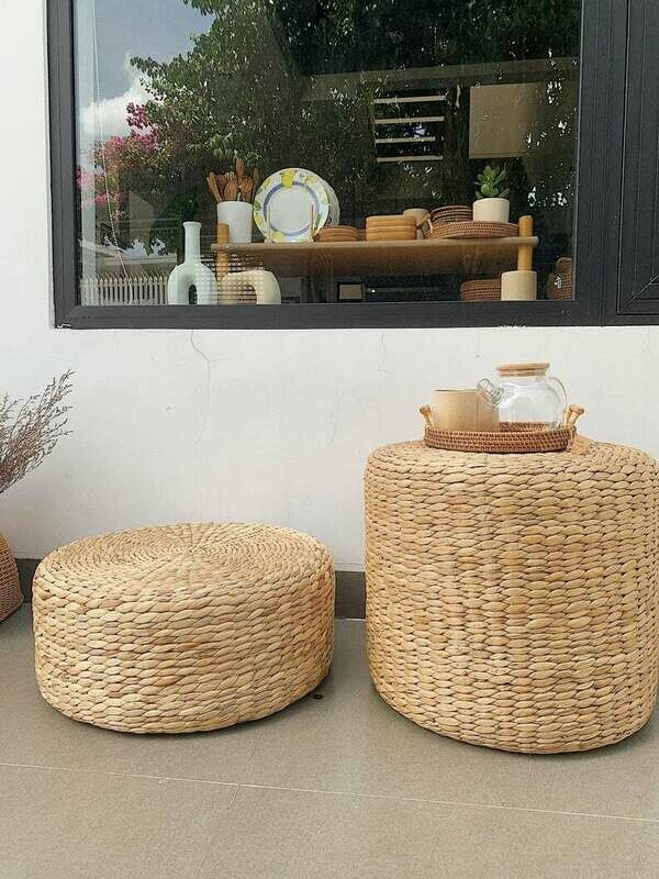 Braided Hand Woven Natural water hyacinth Round Ottoman