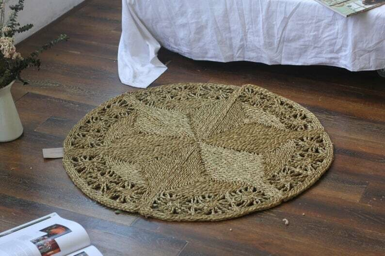 Braided Floral Hand Woven Natural Round Oval Foldable Rug