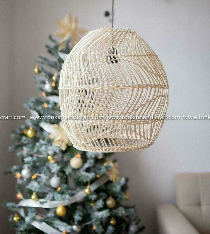 SNOW Lace Round white rattan curve lampshade light pendant
