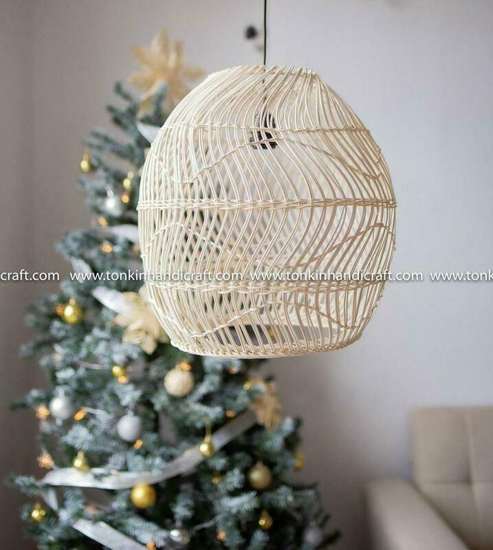 SNOW Lace Round white rattan curve lampshade light pendant