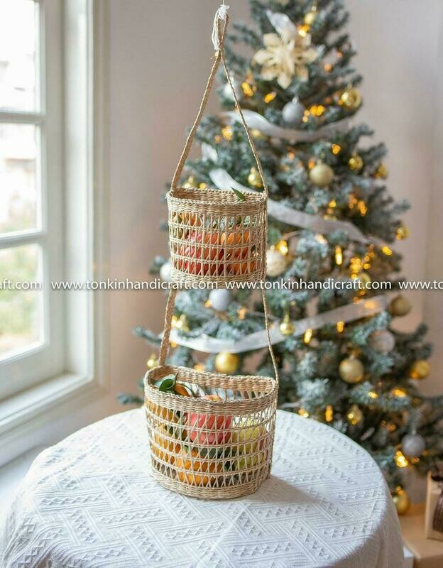 Seagrass Hanging fruit 2-tiers half moon basket