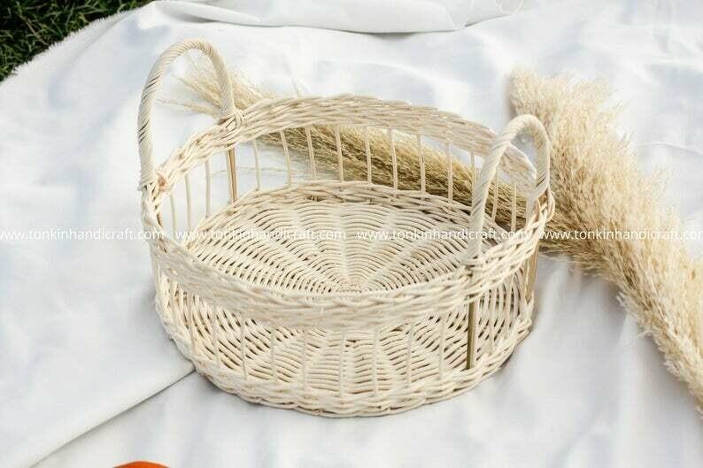 White Rattan bamboo Fruit Basket