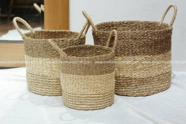 Set of 3 Vintage Round Seagrass Jute Baskets