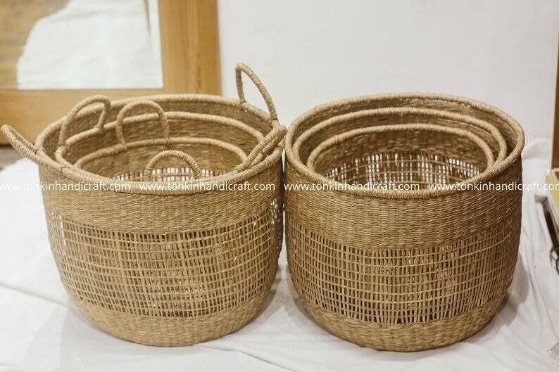 Set of 3 Bonny floppy Seagrass Baskets