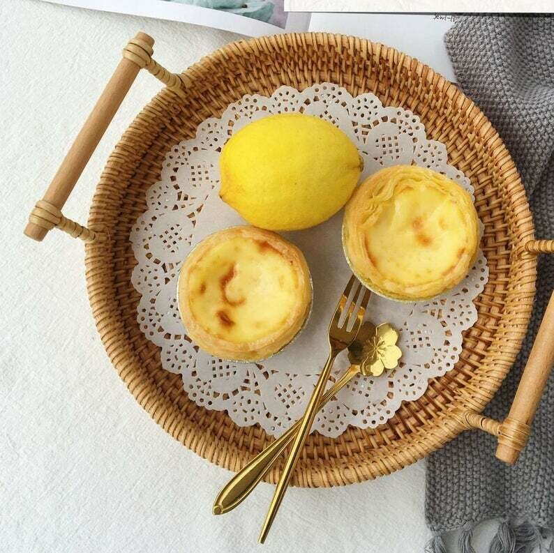 Handmade Rattan Round Fruit Basket with Wooden Handle