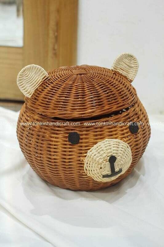 Teddy Bear Woven Rattan Round Decorative Storage Baskets