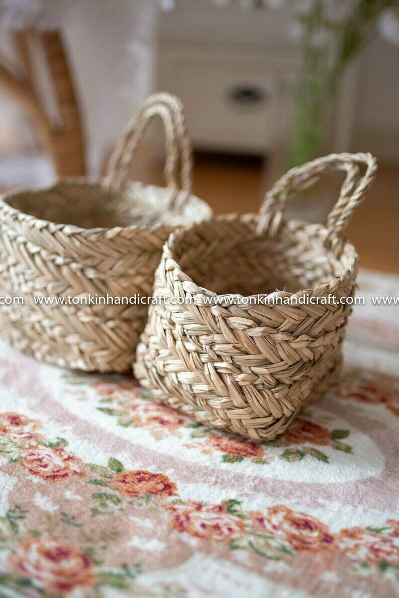 Set of 2 Seagrass Hanging baskets