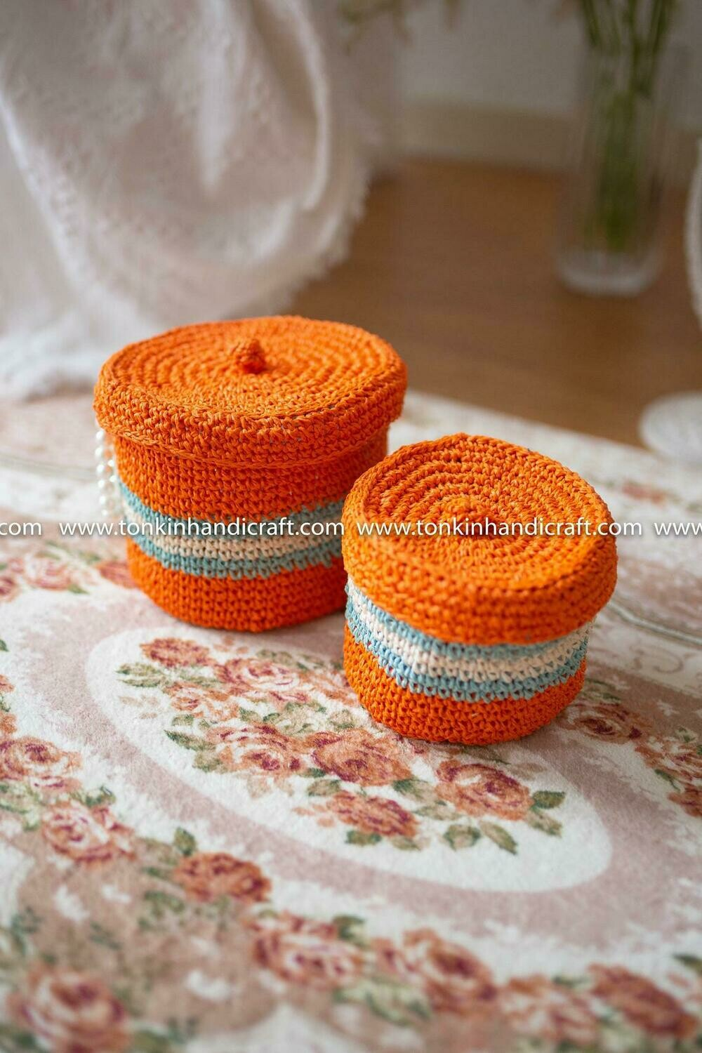 Set of 2 Braided Handwoven Orange Natural Round Holder basket with lid