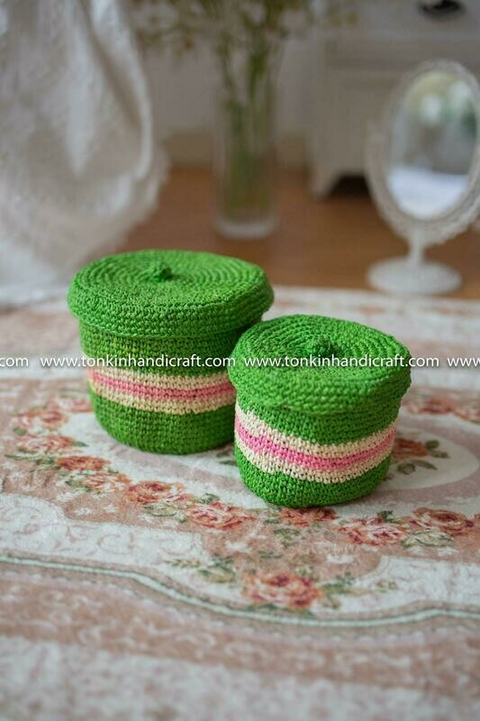 Set of 2 Braided Green Woven Natural Round Jute Holder basket with lid,