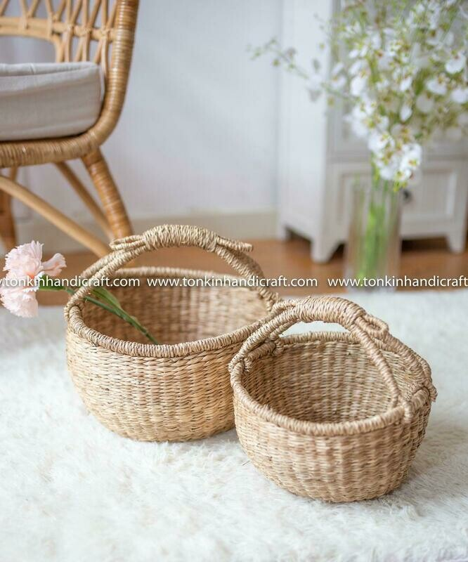 BAE Set of 2 Seagrass natural weave Baskets with handle