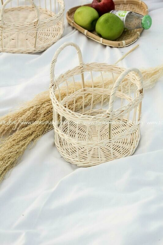 May White Rattan Fruit Basket