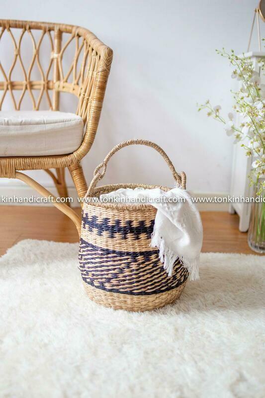 BOHOV Seagrass zic zac handmade basket