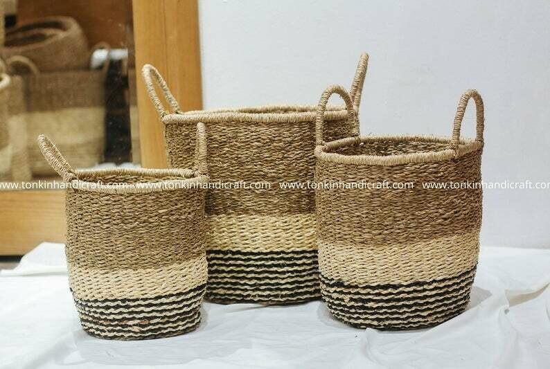 Set of 3 Vintage Round Black stripe Seagrass Baskets