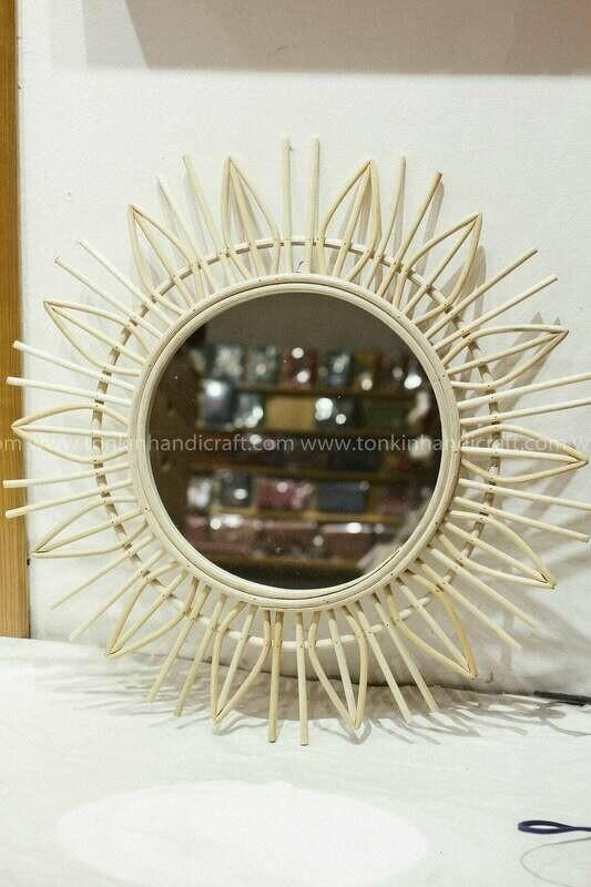 White Sunburst Rattan/bamboo Mirror
