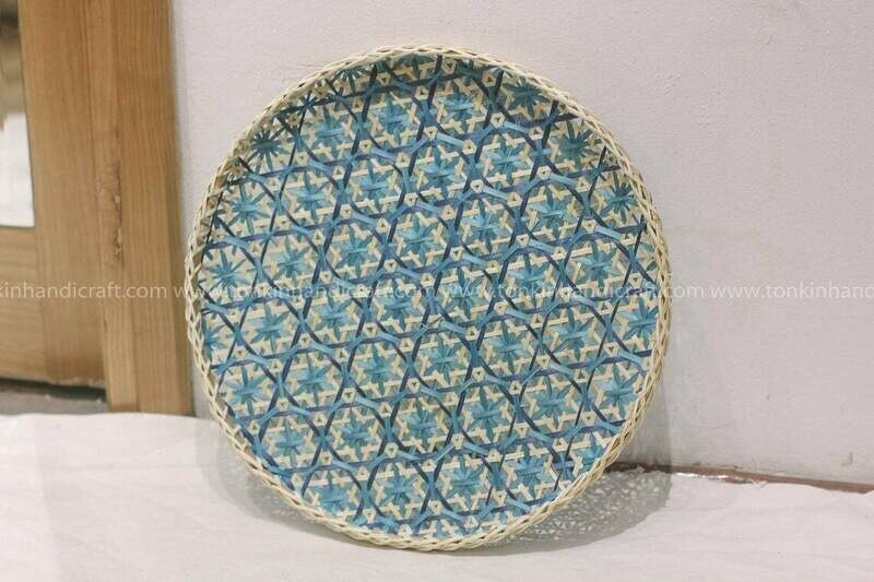 Rattan/ bamboo Floral Round Serving Trays
