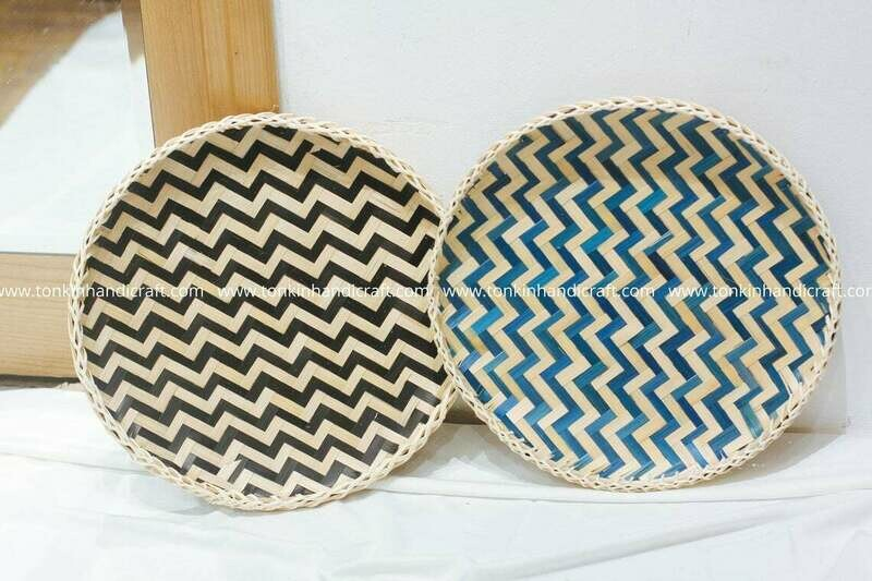 Rattan/bamboo Round Serving Wave Trays