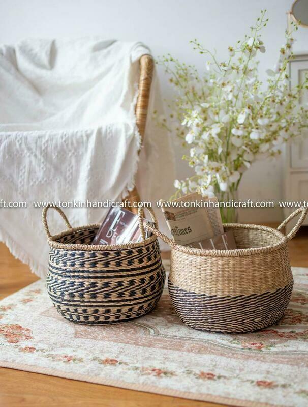 CHAD Seagrass handmade basket natural weave storage & handle