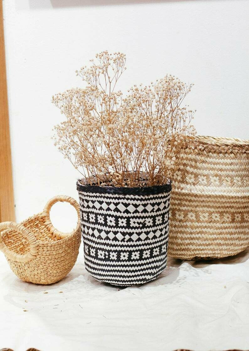 Black Floral Soft Seagrass Baskets