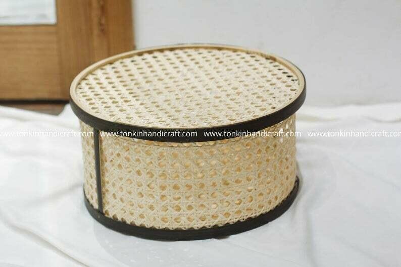 Rattan and Cane Storage Wicker Vintage Natural weave basket