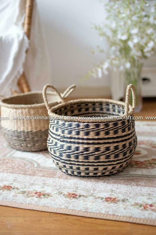 CHADO Seagrass handmade basket natural weave storage & handle