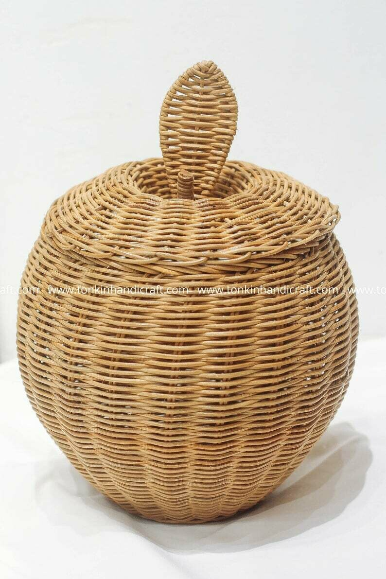 Apple Woven Rattan Round Decorative Fruit Baskets Display Storage