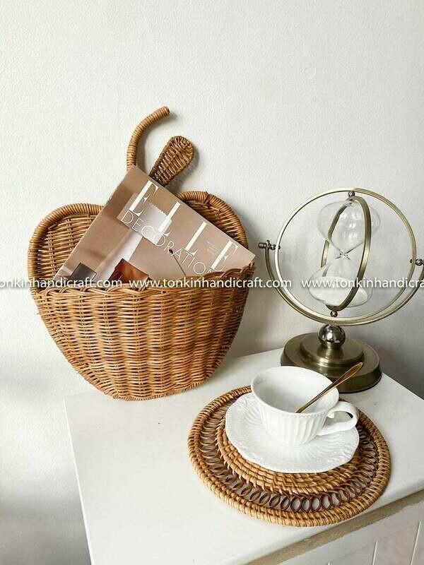 Apple Wall Hanging Woven Rattan Round Decorative Storage Wicker