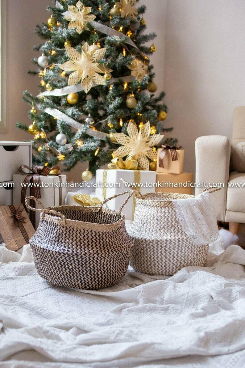 Seagrass zic zac black handmade, natural weave baskets
